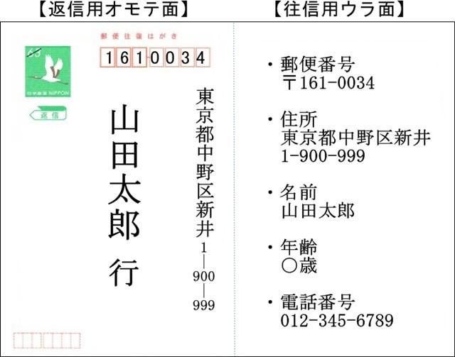 NHK紅白歌合戦観覧応募ハガキの書き方例1